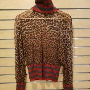 D&G Brown Black/Red Leopard Print Blouse Shirt